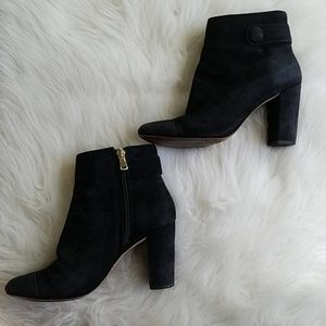 Ann Taylor Black Ankle Booties Boots Heels Leather